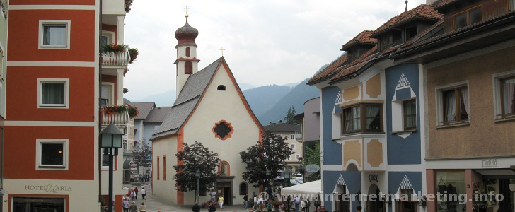 St. Anthony Church at Antoniusplatz in Ortisei in Val Gardena.